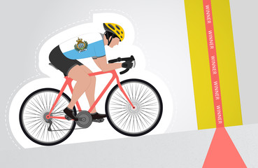 San Marino cyclist riding upwards to finish line vector isolated
