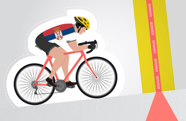 Serbian cyclist riding upwards to finish line vector isolated