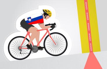 Slovenian cyclist riding upwards to finish line vector isolated
