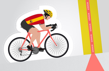Spanish cyclist riding upwards to finish line vector isolated