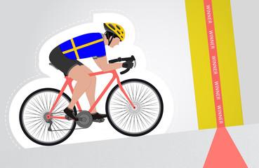 Swedish cyclist riding upwards to finish line vector isolated