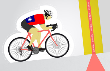 Taiwan cyclist riding upwards to finish line vector isolated