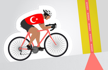 Turkish cyclist riding upwards to finish line vector isolated