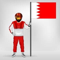 standing racer holding Bahraini flag vector