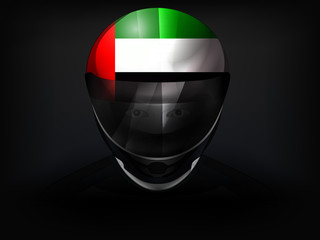 United Arab Emirates racer with flag on helmet vector closeup