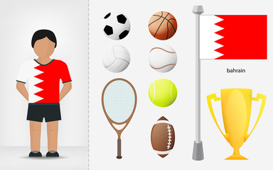 Bahraini sportsman with sport equipment collection vector
