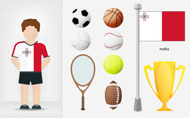 Maltese sportsman with sport equipment collection vector