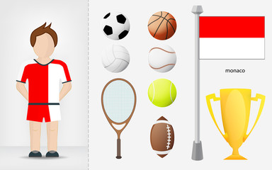 Monaco sportsman with sport equipment collection vector