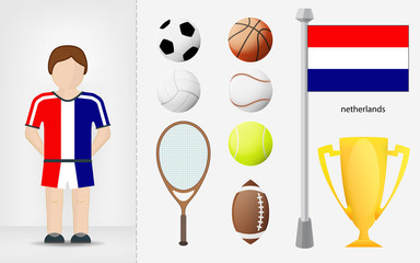 Dutch sportsman with sport equipment collection vector