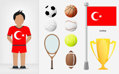 Turkish sportsman with sport equipment collection vector
