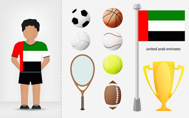 Arab Emirates sportsman with sport equipment collection vector