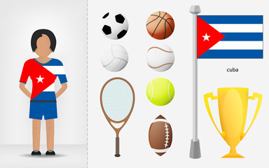 Cuban sportswoman with sport equipment collection vector