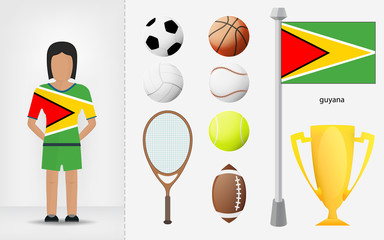 Guyanese sportswoman with sport equipment collection vector