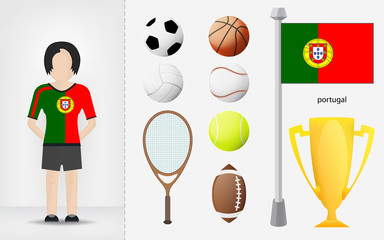 Portuguese sportswoman with sport equipment collection vector
