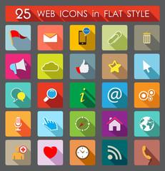 25 Web Icons. Flat Style