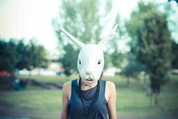 mask rabbit young beautiful model woman