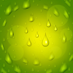 Rain Drop Represents Droplet Precipitate And Green
