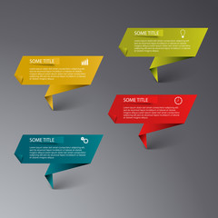 Info graphic colored folded paper template