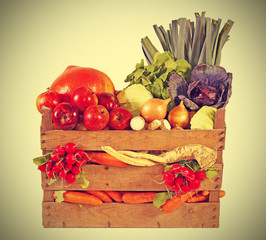 Fresh vegetables and fruits in basket, vintage instagram retro s