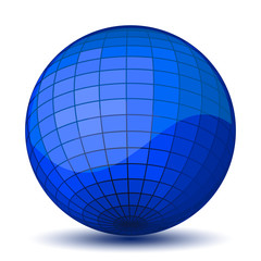 Blue chessboard ball. Vector