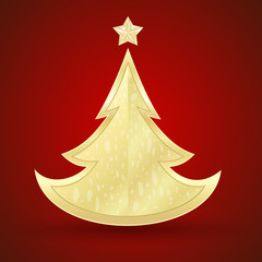Golden fir on a red background. Vector