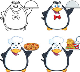 Penguin Cartoon Mascot Character Poses 8. Collection Set