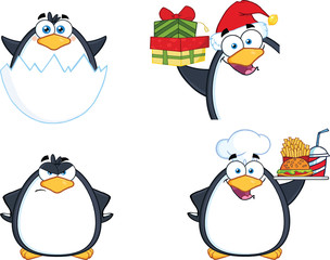 Penguin Cartoon Mascot Character Poses 11. Collection Set