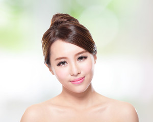 Beautiful woman smile with clean face skin