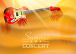 Summer concert background with guitar and sunset