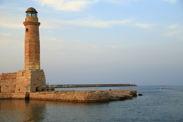 Stone old lighthouse closeup Rethymno Crete