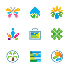 Colorful nature splash art travel experience logo icon set