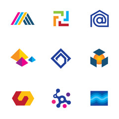 New technology innovative app logo future network icon set