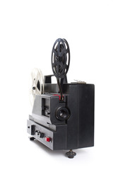 Old film projector on a white background