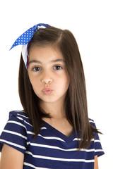 cute brunette caucasian girl kissing portrait close up