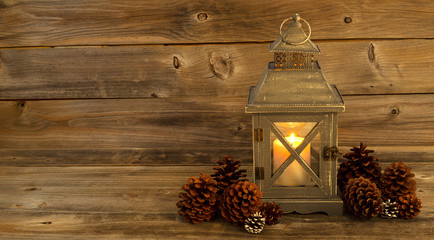 Traditional Asian Lantern Glowing Brightly with natural pine con