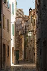 Narrow street of historic Stari Grad, Hvar island, Croatia