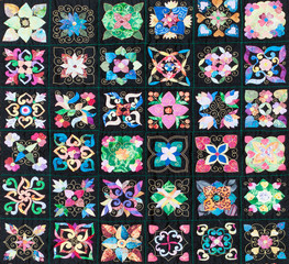 Hand stitched colorful patchwork quilt