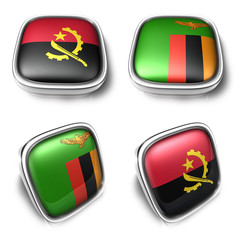 Angola and Zambia 3d metalic square flag button. 3D Icon Design