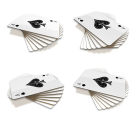 3d playing cards range four set . 3D Icon Design Series.