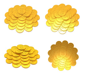 3d gold coin range four set . 3D Icon Design Series.