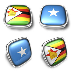 Zimbabwe and Somalia 3d metalic square flag button. 3D Icon Desi