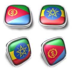 Eritrea and Ethiopia 3d metalic square flag button. 3D Icon Desi