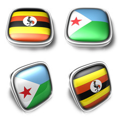 Uganda and Djibouti 3d metalic square flag button. 3D Icon Desig
