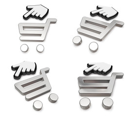 3d shopping cart and cursor range four set . 3D Icon Design Seri