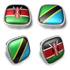 Kenya and Tanzania 3d metalic square flag button. 3D Icon Design