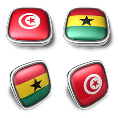 Tunisia and Ghana  3d metalic square flag button. 3D Icon Design