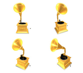 3d gold gramophone range four set . 3D Icon Design Series.
