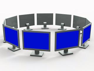 Monitors Copyspace Shows Desktop Pc And Communication