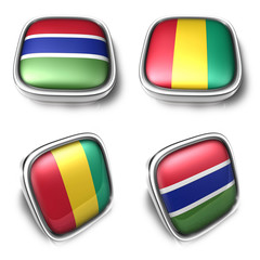 Gambia and Guinea 3d metalic square flag button. 3D Icon Design