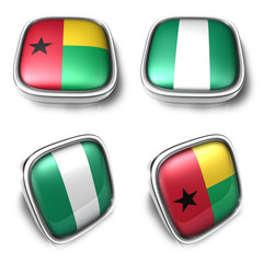 Guinea-Bissau and Nigeria  3d metalic square flag button. 3D Ico